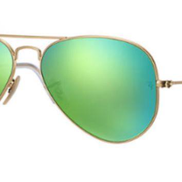 New Ray Ban Aviator RB 3025 112/P9 Gold w/Polarized Green Flash size 55mm