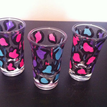 leopard shot glasses, purple pink and blue