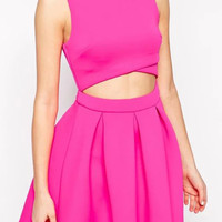 Hot Pink Cutout Waist Pleated Mini Skater Dress