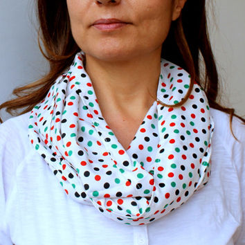 FREE SHIPPING Multicolor Polka Dot Printed Infinity Scarf White Red Green Blue Fashion Women Loop Circle Scarf Satin