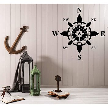 Wall Vinyl Decal Side World Compass Navigation Nautical Interior Decor Unique Gift z4578