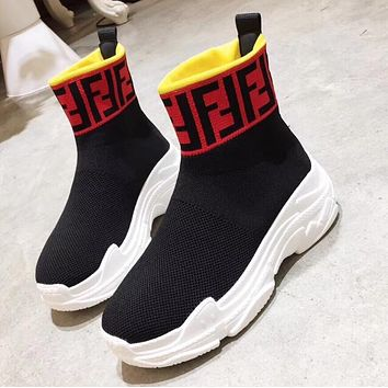 FENDI Popular Woman Breathable Elastic Socks Sneakers Running Thick Soles Shoes Red