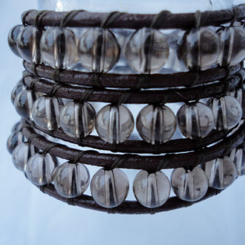 Smoky Quartz, Triple Wrap Bracelet