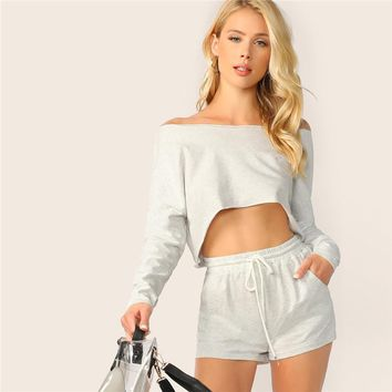 Heathered Knit Crop Top And Shorts Set  Stretchy Grey Long Sleeve Two Piece Set  Boat Neck Women Two Piece