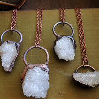 Geode Chunky Necklaces - Oxidized Copper - Electroformed Raw Recycled Copper