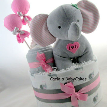 Elephant diaper cake | Girl diaper cake| Baby shower decoration | Baby diaper cake | Baby shower gift | Unique Baby gift | New mom gift