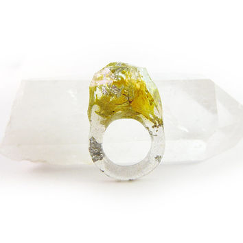 Terrarium + Silver Leaf Resin Ring • Size 4.5 • Geometric Terrarium Ring • Science Specimen Ring • Nature Moss Eco Resin Ring