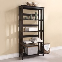 Opeli collection espresso finish wood bathroom laundry shelves