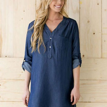 Blue V-Neck Loose Long-Sleeved Irregular Mini Denim Dress