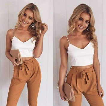 ICIKON3 2018 Spring Summer Women Two Piece Outfits Pants Set Rompers Jumpsuit Long Pants 2 Piece Set  V-neck Crop Tops Bodycon Palysuit