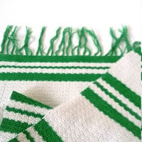 Vintage green white striped rag rug Small crochet rag rug handmade crochet rag runner Floor Table runner with fringes