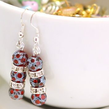 Red and Blue Beaded Earrings with Rhinestone spacers - Pearl Earrings - womens jewelry - fashion jewelry - fall trend - Womens Jewelry