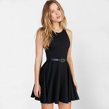Solid Halter  Racerback Skater Dress