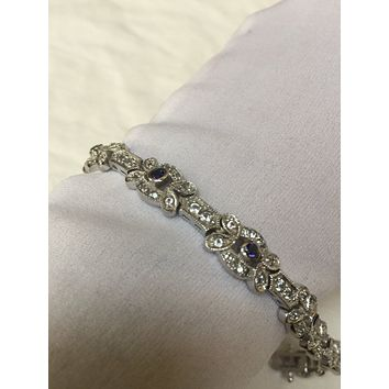 Handmade Genuine Blue and White Sapphires Rhodium Finished 925 Sterling Silver Tennis Bracelet