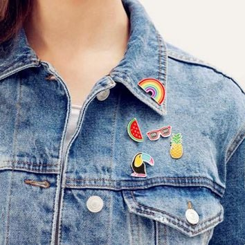Pineapple Toucan rainbow Lips Juice Flamingos Sunglass Watermelon Hat Guitar Brooch Denim Jacket Pin Badge Fashion Jewelry