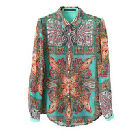 Vintage Pattern Print Chiffon Long Sleeve Blouse