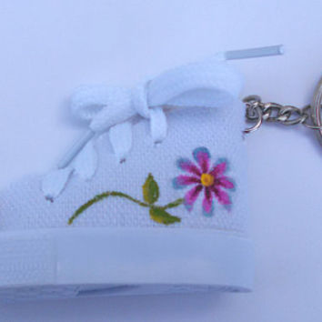 Hand Painted Small Shoe Custom Keychain Cute Flower Floral Accessory Sneaker Charm Painted Keyring Gifts Under 10 Gifts Under 15