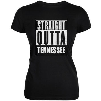 Straight Outta Tennessee Black Juniors Soft T-Shirt