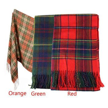 CREYU3C Hot Marketing New Women Winter Infinity Blanket Oversized Shawl Plaid Check Tartan Scarf Wrap May4