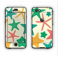 The Tan And Colorful Vector StarFish Apple iPhone 6 Plus LifeProof Nuud Case Skin Set