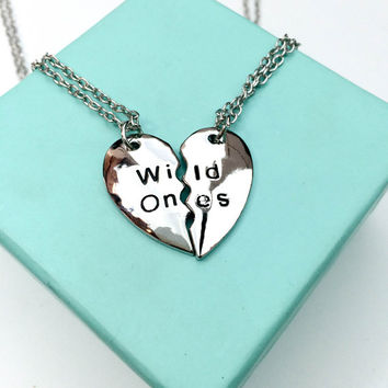 Silver Split Heart Necklace, Wild Ones Split Heart Necklace, Best Bitches Necklace, Partners in Crime Necklace
