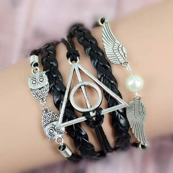 DCCKJG2 New Harry Potter Deathly Hollows Infinity Owl Angel Wing Charms Leather Bracelet