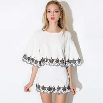 Floral Embroidery Wide Sleeve Cropped Top