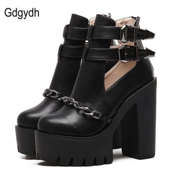 Gdgydh Spring Autumn Fashion Ankle Boots For Women High Heels Casual Cut-outs Buckle R