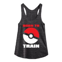born to train-Female Athletic Tri Black Tank