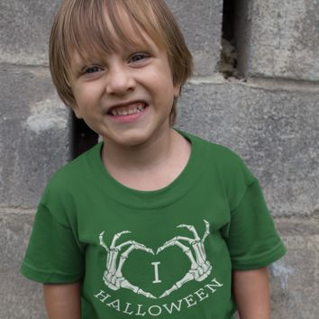 Kids Love Halloween T Shirt Skeleton Hands Shirt I Love Halloween T Shirts Heart Hands Halloween Shirt
