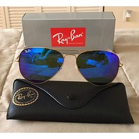 Cheap RayBan Ray-Ban Aviator Gold Frame Blue Lens Sunglasses