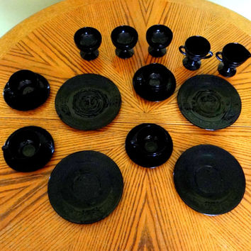 Vintage Hazel Atlas Cloverleaf Black Depression Glass Luncheon Set from 1930s