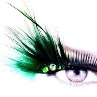 Mardi Gras Green Feather False Eyelashes Party Makeup