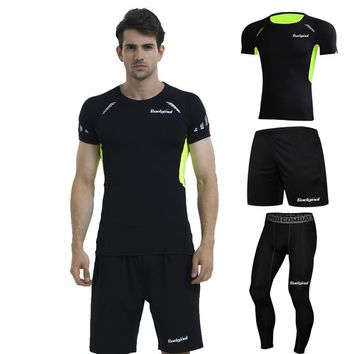 3 Pieces Mens Sports Suits Running Clothes For Men Short Compression Tights Gym Fitness T Shirt Cropped Pants Quick Dry Sets