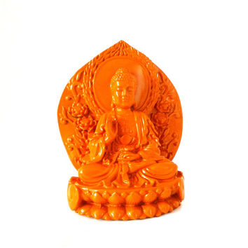 buddha statues, buddha sitting on lotus, boho decor,  orange home decor, asian, zen