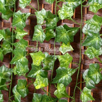 60pcs Artificial Silk Sweet Potato Green Leaves Vine Ivy Rattan Cane Wall Hang Garland Plant Wedding Home Party Decoration