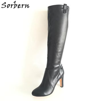 Sorbern Black Soft Faux Leather Women Boots Knee High Round Toe Long Ladies Boots Square High Heels Shoes Ladies Side Zipper