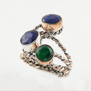 Sapphire & Emerald Two Tone Sterling Silver Ring