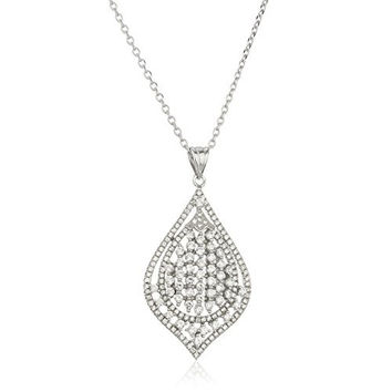 925 Sterling Silver Crystal Chandelier Pendant with Clear Cz Stones and an 18 Inch Link Necklace