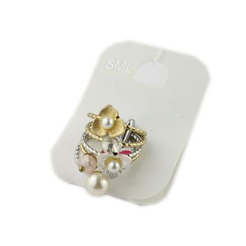 Europe and America Foreign Trade Jewelry Personality Bead Ring Set Metal Multi-layer Flower Rings Accessories Accessories 1 Card 5 HH
