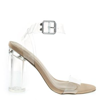 Vienna01 Clear / Nude By Breckelle's Lucite See Through Open Toe Sandal w Perspex Block Heel