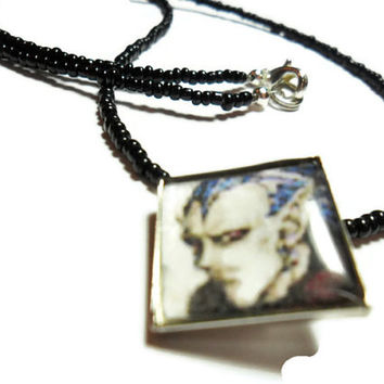 Videogame pendant Chrono Trigger Magus altered art necklace, geeky jewelry, gamer gift, SNES nintendo characters