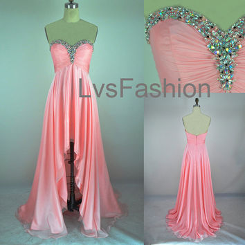 A Line Strapless Sweetheart With Crystal Front Short by LvsFashion
