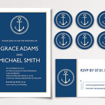 Blue Nautical But Nice Wedding Invitation Templates Available for Instant Download - DIY Printable