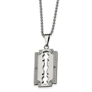 Stainless Steel and Diamond Razor Blade Necklace