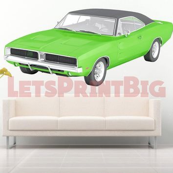 Dodge Charger Muscle Car Vintage 70's WALL DECAL REMOVABLE REPOSITIONABLE
