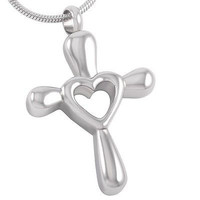"Cremation ""Forever in My Heart"" Cross Urn Necklace"