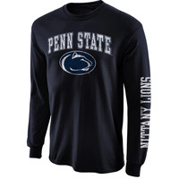 Mens Penn State Nittany Lions Navy Blue Arch & Logo Long Sleeve T-Shirt
