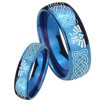 His Hers Mirror Blue Dome Celtic Zelda Tungsten Carbide Wedding Rings Set