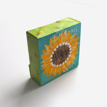 Mini Sunflower Art, 4x4 inch acrylic painting, daily doodle decor for home or office